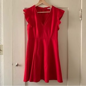 NWT BCBG Fit and Flare Dress Red Orange Soft Knit
